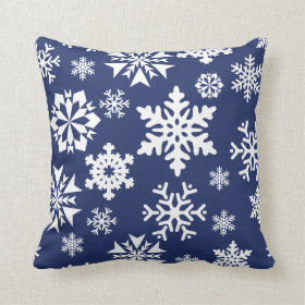Blue Snowflakes Winter Christmas Holiday Pattern Throw Pillows