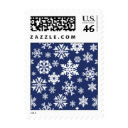 Blue Snowflakes Winter Christmas Holiday Pattern Stamp