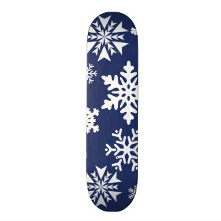 Blue Snowflakes Winter Christmas Holiday Pattern Skate Board Deck