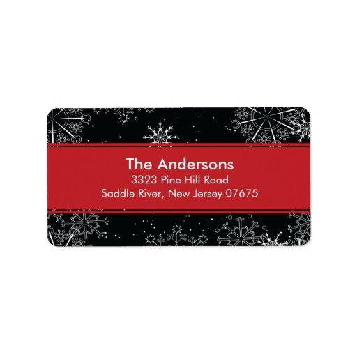 Blue Snowflakes Winter Holiday Return Address Custom Address Label