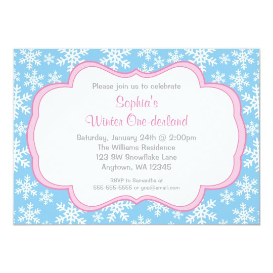 Blue Snowflakes Winter Onederland Birthday Card