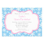 Blue Snowflakes Winter Onederland Birthday Custom Announcements