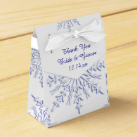 Blue Snowflakes Winter Wedding Favor Box