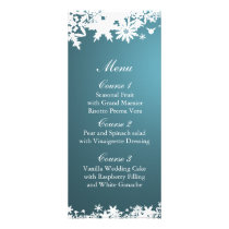 blue snowflakes winter wedding menu