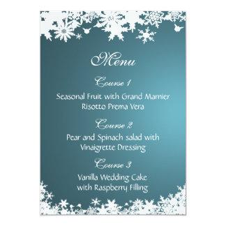 blue snowflakes winter wedding menu card