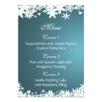 blue snowflakes winter wedding menu card