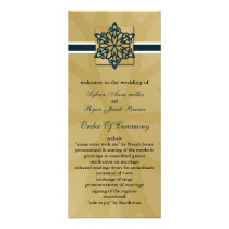 blue snowflakes winter wedding program