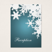 blue snowflakes winter wedding reception cards