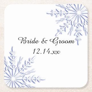 Blue Snowflakes Winter Wedding Square Paper Coaster