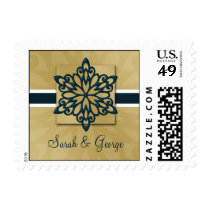 blue snowflakes winter wedding stamps
