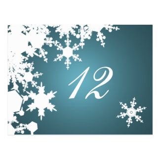 blue snowflakes winter wedding table seating card postcard