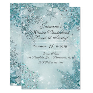 Blue Snowflakes Winter Wonderland Holiday Party Card