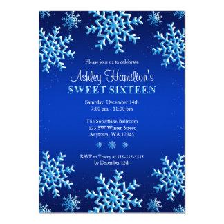 Blue Snowflakes Winter Wonderland Sweet 16 4.5x6.25 Paper Invitation Card