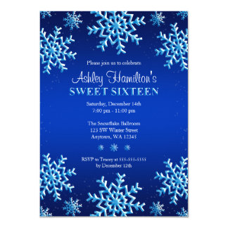 Blue Snowflakes Winter Wonderland Sweet 16 Card
