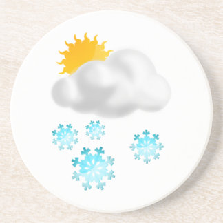 Blue Snowflakes with Cloud Drink Coaster