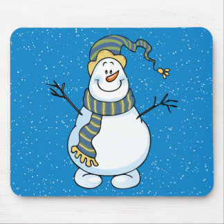 Blue Snowman Christmas Holiday Mouse Pad