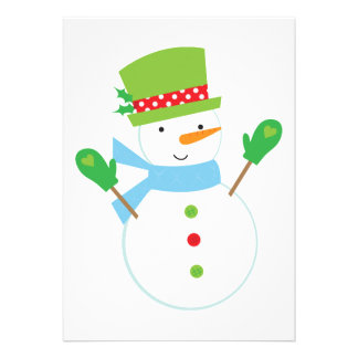 Blue Snowman Christmas Party Invitation (white)