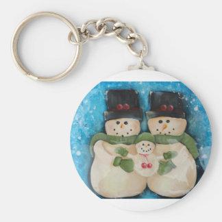 Blue Snowman Family Keychain