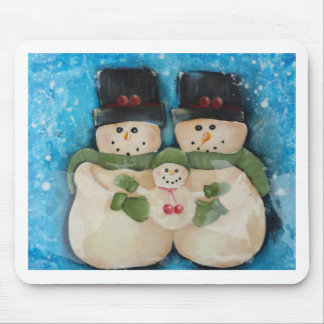 Blue Snowman Family Mouse Pad