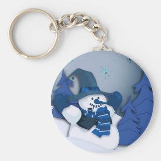 Blue Snowman Keychain