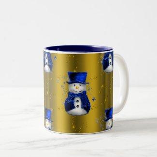 Blue Snowman on Gold Christmas Two-Tone Coffee Mug