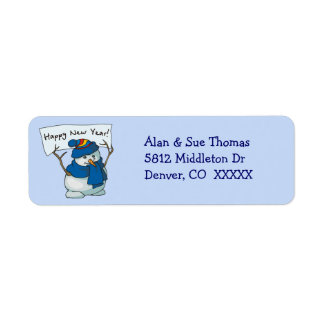Blue Snowman Return Address Label
