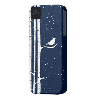 Blue Snowy Birch Trees iPhone 4 Case