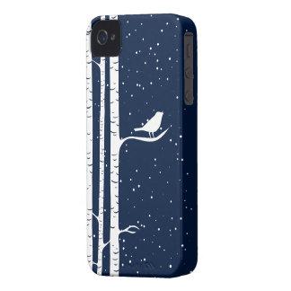 Blue Snowy Birch Trees iPhone 4 Case