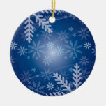 blue snowy christmas ornament