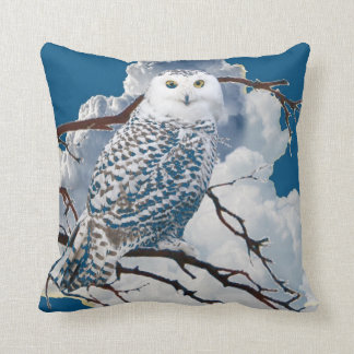 BLUE SNOWY OWL IN TREE ART THROW PILLOW