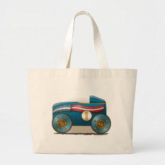 Blue Soap Box Car Bags/Totes Large Tote Bag