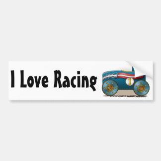 Blue Soap Box Car I Love Racing Bumper Sticker Car Bumper Sticker