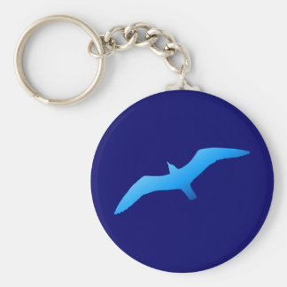 Blue Soaring Gull Basic Round Button Keychain