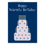 Blue Sobriety Birthday Greeting Card With Cake
