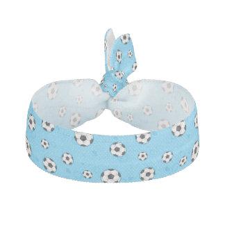 Blue Soccer Ball Pattern Ribbon Hair Tie