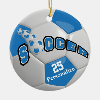 Blue Soccer Ball | Personalize Double-Sided Ceramic Round Christmas Ornament