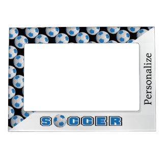 Blue Soccer Ball Player Magnetic Photo Frame