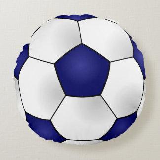 Blue Soccer Ball Round Pillow