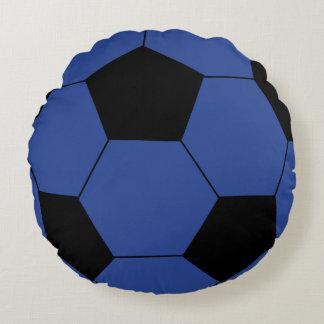 Blue Soccer Ball Round Throw Pillow
