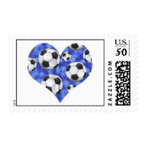 Blue Soccer Balls Heart Postage