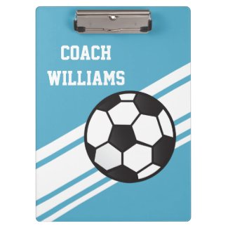 Blue Soccer Coach Personalized Clipboard Clipboard
