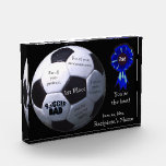 Blue Soccer Dad First Place Acrylic Block Award
