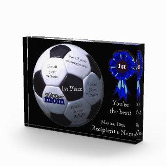 Blue Soccer Mom First Place Acrylic Block Award