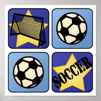 Blue Soccer Poster