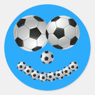 Blue Soccer Smile Classic Round Sticker