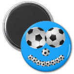 Blue Soccer Smile Magnets