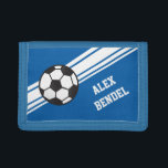 "Blue Soccer Sporty Sport Stripes Boys Wallet<br><div class=""desc"">This sporty design has a bright blue background with white diagonal stripes.  It also has a soccer ball and allows for personalization with a name.</div>"