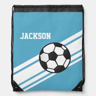 Blue Soccer Stripes Drawstring Bags