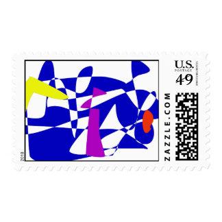 Blue Society Postage Stamp