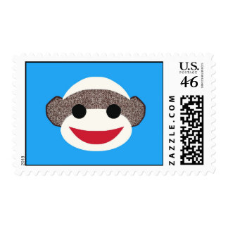 Blue Sock Monkey Boy Postage